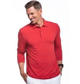 IBKul IBKul Solid Long Sleeve Polo Red