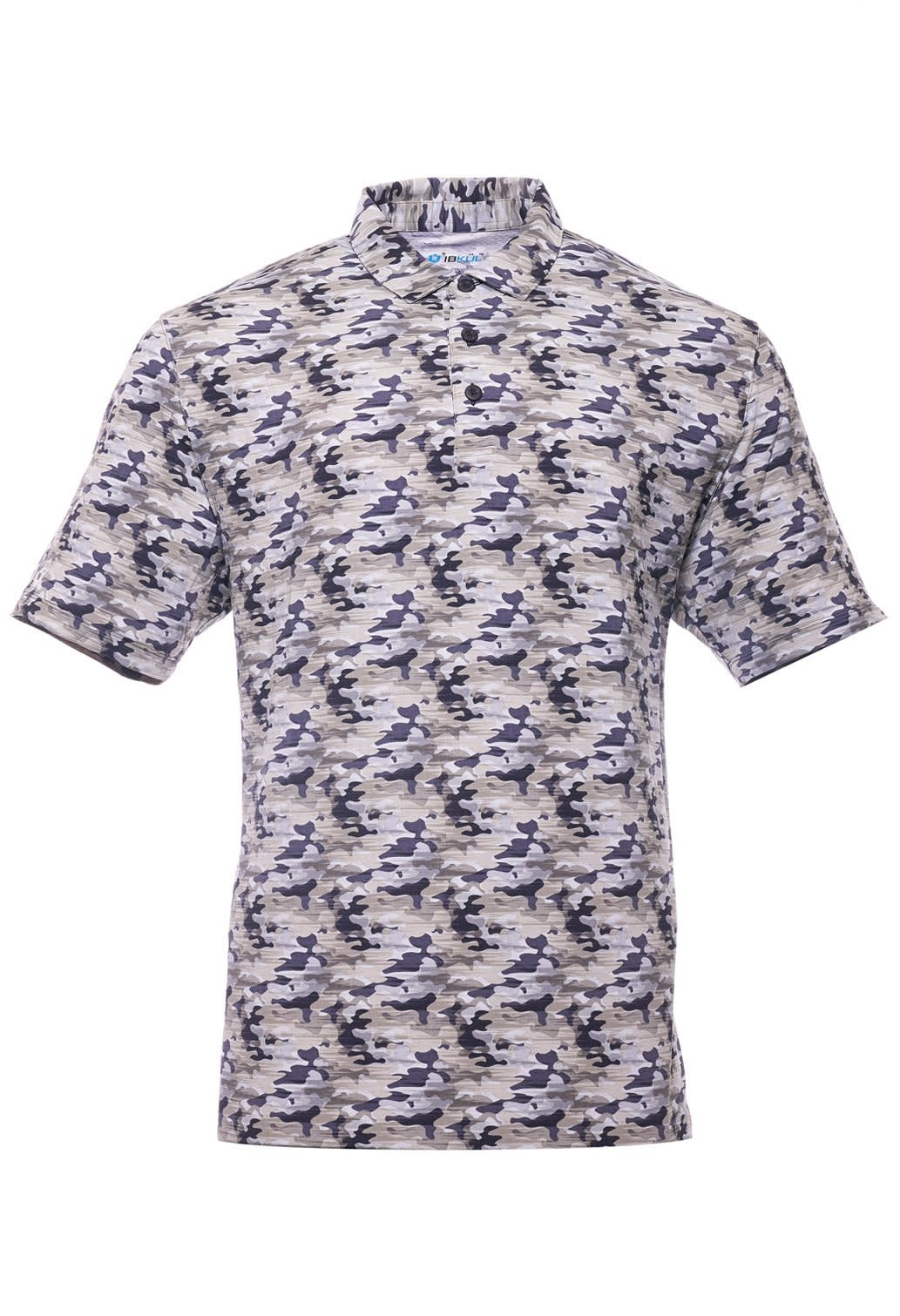 IBKul Camo Shortsleeve Polo Charcoal