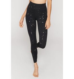 Spiritual Gangster Essential High Waist 7/8 Legging Gold Foil Splatter