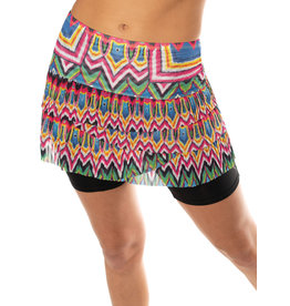 Lucky In Love Lucky In Love Psychedelic Mesh Pleated Scallop Skirt