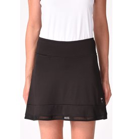 Golftini Top Golf Mesh Trim Ruffle Skort Black