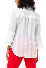 Liverpool Jeans Button Front Tiered Bell Sleeve White