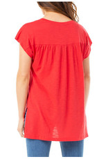 Liverpool Jeans Dolman Short Sleeve Top Red