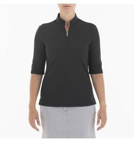 Nivo Sport Noa 3/4 Sleeve Mock Polo Black