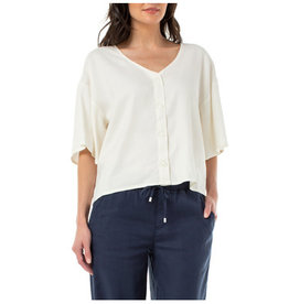 Liverpool Jeans Button Front Drop Top Cream
