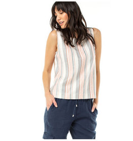 Liverpool Jeans Button Side SL Tank Coral Stripe