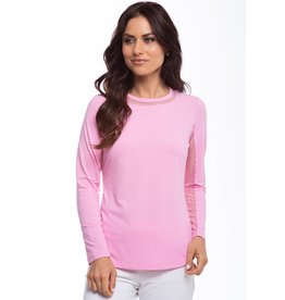 IBKul IBKul Solid Long Sleeve Crew w/ Mesh Candy Pink