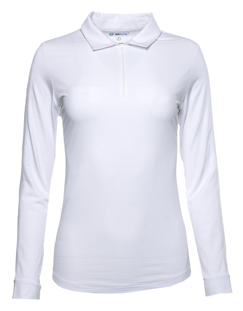 IBKul IKul Solid LS Polo Outer Mesh Panel White