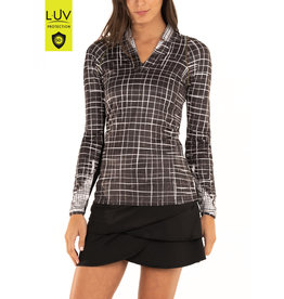 Lucky In Love LS V-neck Checkmate