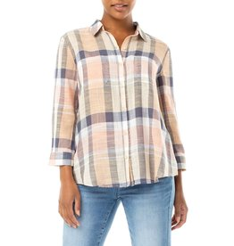 Liverpool Jeans 3/4 Sleeve Tulip Back Button Plaid