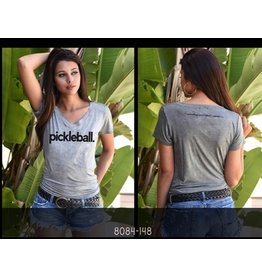 Bird & Vine Los Angeles Bird & Vine SS V-Neck PICKLEBALL Tee Grey