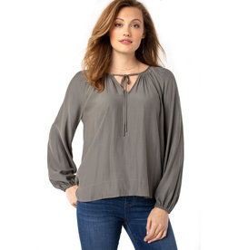 Liverpool Jeans Shirred LS Blouse Dusty Olive