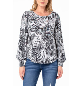 Liverpool Jeans Smocked Cuff Knit Top Slvr Tiger