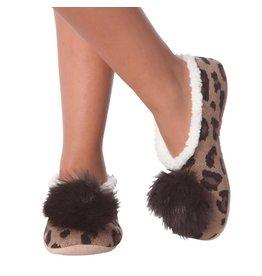 K.Bell Leopard Pom Slippers Brown