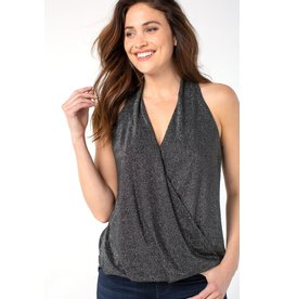 Liverpool Jeans Draped Crossover Front SL Top Silver