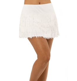 Lucky In Love Lucky In Love Level Up Fringe Skirt White