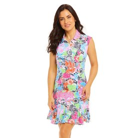 IBKul Bamboo Garden SL Polo Dress Multi