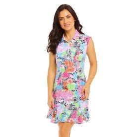 IBKul IBKul Bamboo Garden Sleeveless Polo Dress Multi