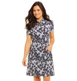 IBKul IBKul LE Leopard Short Sleeve Mock Dress Blk/Gry