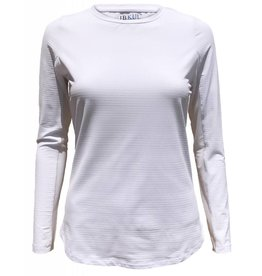IBKul Solid Long Sleeve Crew White