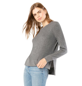 Beyond Yoga Just Chillin LS Pullover Heather Gray