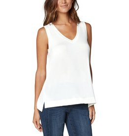 Liverpool Jeans Sleeveless V-Neck Knit Tee White Cotton
