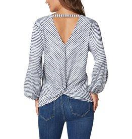 Liverpool Jeans Twist Back LS Knit White/Blue Stripe