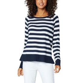 Liverpool Jeans Raglan Sweater w/ Side Slit Navy/White Stripe