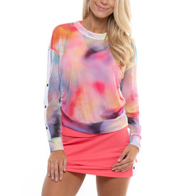 Lucky In Love Tropic Ombre Net L/S Pullover Punch