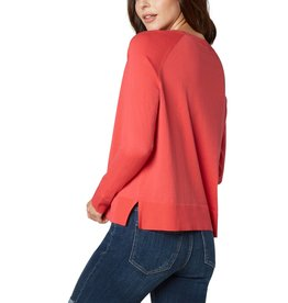 Liverpool Jeans Raglan Sweater w/ Side Slit Bright Coral
