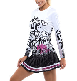 Lucky In Love Love Tag Rib Long Sleeve Top Black