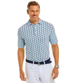 IBKul Vino Print Short Sleeve Polo Watermelon