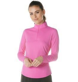 IBKul IBKul Solid Long Sleeve Mock Hot Pink