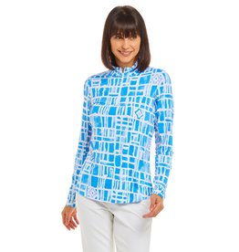 IBKul IBKul Out of the Box Long Sleeve Mock Blue/White