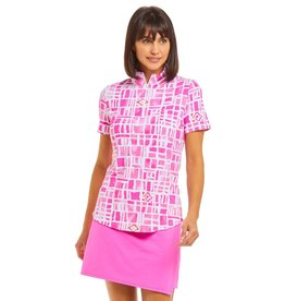 IBKul IBKul Out of the Box Short Sleeve Mock Pink/Wht