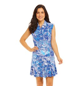 IBKul IBKul Bamboo Garden Sleeveless Dress Blue Tonal