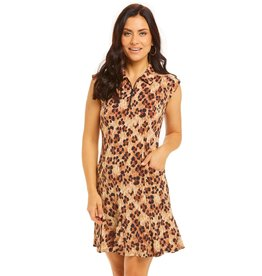 IBKul IBKul LE Leopard Sleeveless Polo Dress Nat/Blk