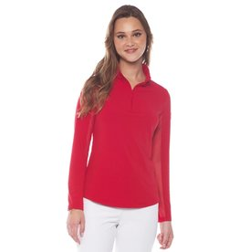 IBKul IBKul Solid Long Sleeve Mock Red