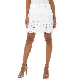 Liverpool Jeans Raw Hem Denim Skirt w/ Embroidery Bright White