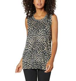 Liverpool Jeans Sleeveless Sweater w/ Side Slits Leopard