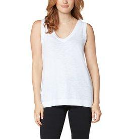 Liverpool Jeans Sleeveless V-Neck Tee White Cotton