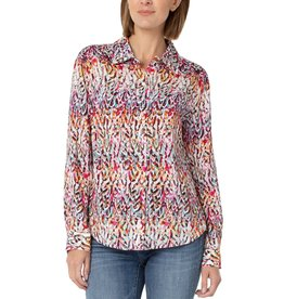 Liverpool Jeans Button Up Woven Blouse Abs Feather Print
