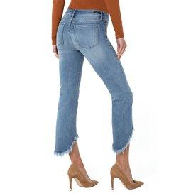 Liverpool Jeans Crop FlareHi-Low Fray Hem Sky View