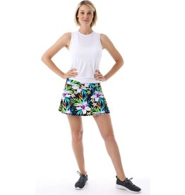 Queen of the Court Black and Green Tropical Tennis Skirt