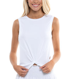 Lucky In Love Twist Front Tank White