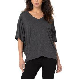 Liverpool Jeans V-Neck Dolman Shirt Dk Heather Grey