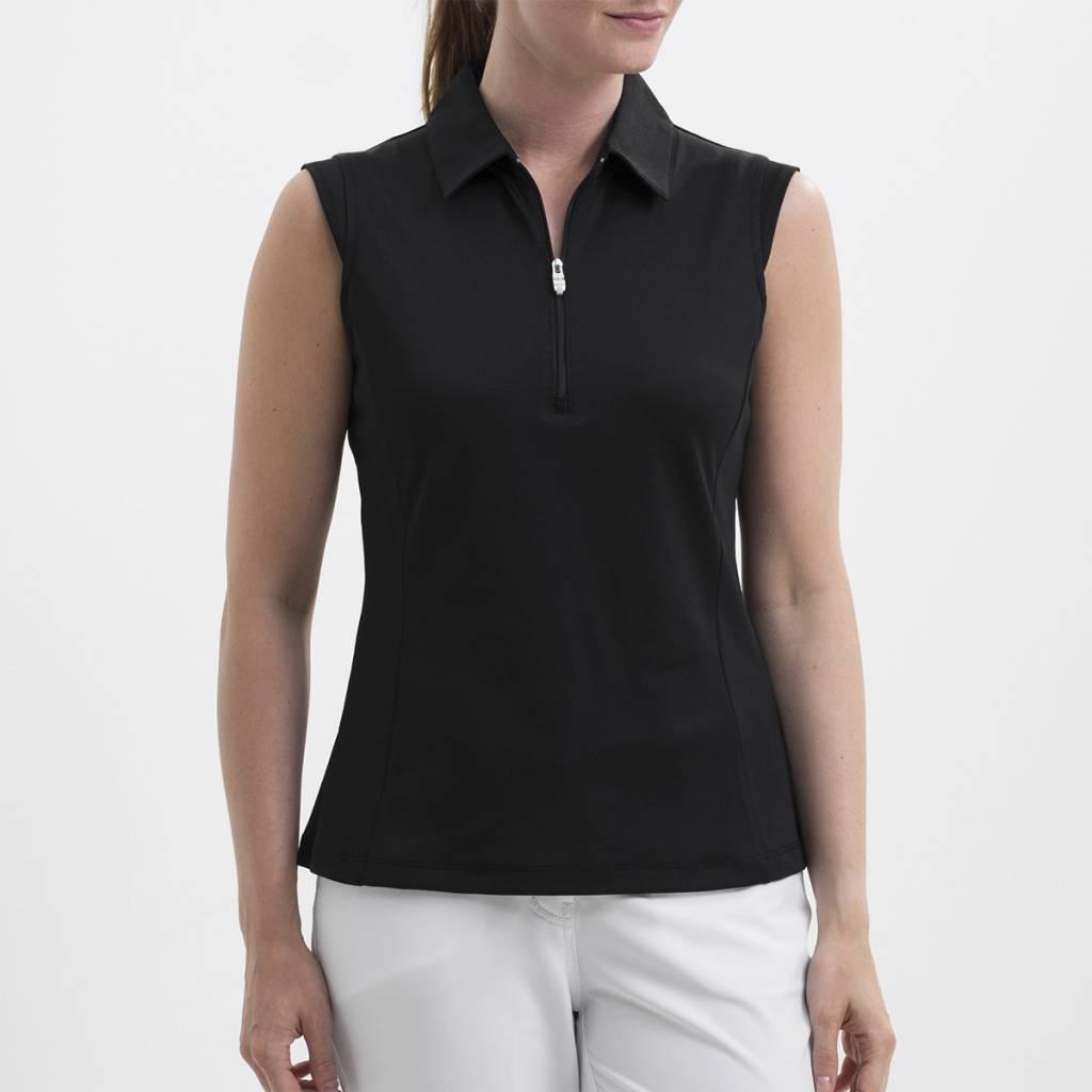 4037e3edbec49b ... stretch sleeveless polo shirt womens white hera parquet 43083 fc452   closeout nivo sport nivo nelly sleeveless polo black d036c 5c275
