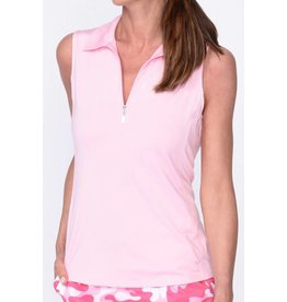 Golftini Golftini Sleeveless Zip Tech Polo Lt Pink