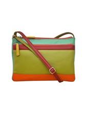 verdigris Leather cross body bag, Citrus