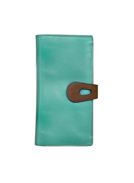 verdigris Leather wallet with cut-outtab closure, Turq/brwn